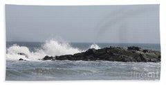 Long Beach Jetty Beach Sheet by John Telfer