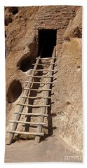 Long House Front Door Bandelier National Monument Beach Sheet