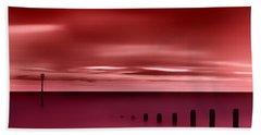 Long Red Sunset Beach Towel