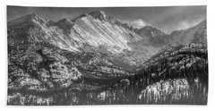Longs Peak Rocky Mountain National Park Black And White Beach Sheet
