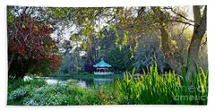 Looking Across Stow Lake At The Pagoda In Golden Gate Park Beach Sheet by Jim Fitzpatrick