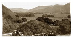 Looking Up The Carmel Valley California Circa 1880 Beach Sheet by California Views Mr Pat Hathaway Archives