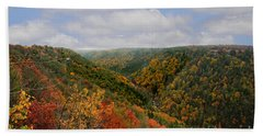 Looking Upriver At Blackwater River Gorge In Fall From Pendleton Point Beach Towel by Dan Friend