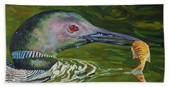 Loon Lunch Beach Towel by Phil Chadwick
