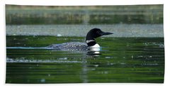 Loon On Indian Lake Beach Sheet by Steven Clipperton