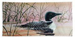 Loon Sunset Beach Towel