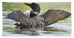 Loon Wing Spread With Chick Beach Towel