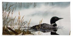 Loons Misty Shore Beach Towel by James Williamson