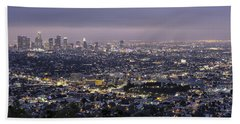 Beach Towel featuring the photograph Los Angeles At Night From The Griffith Park Observatory by Belinda Greb