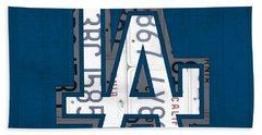Los Angeles Dodgers Baseball Vintage Logo License Plate Art Beach Towel