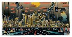 Los Angeles Skyline Abstract 2 Beach Sheet