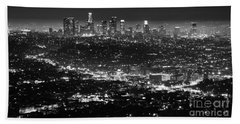 Los Angeles Skyline At Night Monochrome Beach Sheet by Bob Christopher