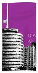 Los Angeles Skyline Capitol Records - Plum Beach Towel