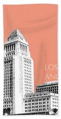 Los Angeles Skyline City Hall - Salmon Beach Towel