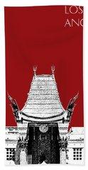 Los Angeles Skyline Graumans Chinese Theater - Dark Red Beach Towel