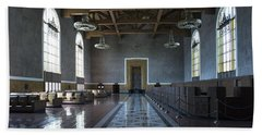 Beach Towel featuring the photograph Los Angeles Union Station Original Ticket Lobby by Belinda Greb