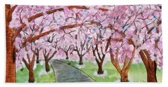 Lost In Pink Cherry Trees Art Beach Towel