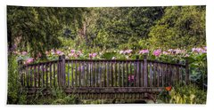 Beach Towel featuring the photograph Lotus Garden Pond And Bridge by Jerry Gammon
