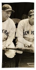 Lou Gehrig And Babe Ruth Beach Towel by Bill Cannon