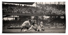 Lou Gehrig Playing First Base Beach Towel
