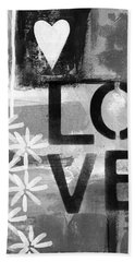 Love- Abstract Painting Beach Towel by Linda Woods