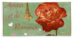 Love And Romance Beach Towel by Claudia Ellis