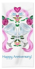 Beach Towel featuring the digital art Love Birds Anniversary by Christine Fournier