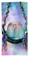 Love On A Moon Swing Beach Towel by Carol Cavalaris
