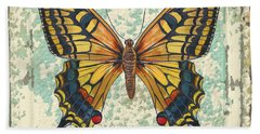 Lovely Yellow Butterfly On Tin Tile Beach Towel