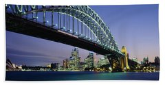 Low Angle View Of A Bridge, Sydney Beach Towel by Panoramic Images