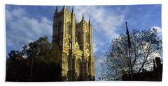 Low Angle View Of An Abbey, Westminster Beach Towel