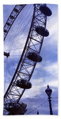 Low Angle View Of The London Eye, Big Beach Towel by Panoramic Images