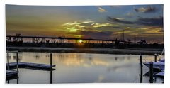 Lowcountry Marina Sunset Beach Towel