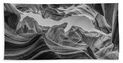 Lower Antelope Canyon Bw Beach Towel