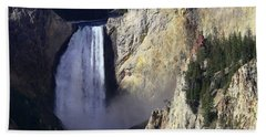 Beach Towel featuring the photograph Lower Falls by David Andersen