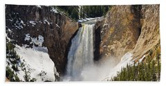 Beach Towel featuring the photograph Lower Falls Of The Yellowstone by Sue Smith