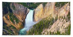 Lower Falls Yellowstone 2 Beach Sheet by Teresa Zieba