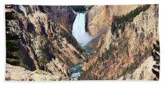 Lower Falls Yellowstone Beach Sheet by Teresa Zieba