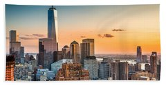 Lower Manhattan At Sunset Beach Towel