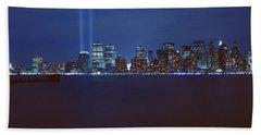 Lower Manhattan, Beams Of Light, Nyc Beach Towel