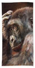 Lowland Gorilla Beach Towel by David Stribbling