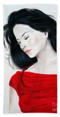 Beach Towel featuring the mixed media Lucy Liu The Lady In Red by Jim Fitzpatrick