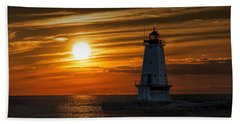 Ludington Pier Lighthead At Sunset Beach Sheet by Randall Nyhof