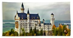 Neuschwanstein Castle In Bavaria Germany Beach Towel
