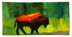 Lumbering Beach Towel by Nancy Merkle