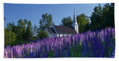 Lupines At St. Matthews In Sugar Hill Beach Towel