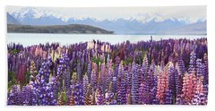 Lupins At Tekapo Beach Towel