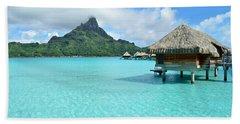 Luxury Overwater Vacation Resort On Bora Bora Island Beach Sheet