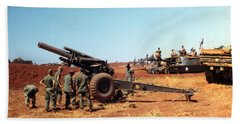 M114 155 Mm Howitzer Was A Towed Howitzer 4th Id Pleiku Vietnam Novembr 1968 Beach Towel