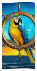 Macaw Pirate Parrot Beach Sheet by Glenn Holbrook